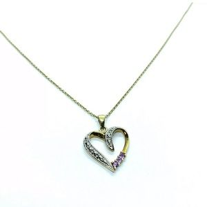 Sterling Silver Purple Stones Heart Chain Necklace